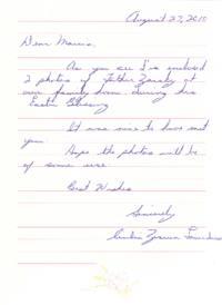Letter (Father Zarsky; Celia Laverdure)